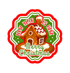 christmas gingerbread cookie house label design vector image