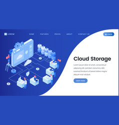 Cloud storage landing page template vector