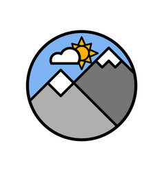cloud sun and mountain icon minimal vintage 2000s vector image
