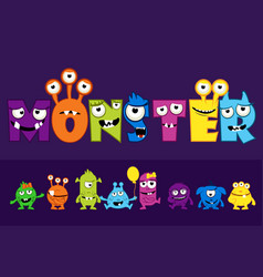 collection cute monsters cartoon funny vector image