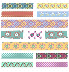 Collection cute patterned washi tape strips vector
