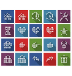 collection square dotted icons user interface vector image
