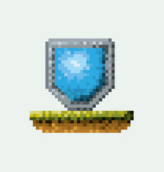 Color pixelated shield in meadow vector