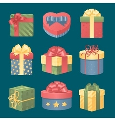 Colorful 3d gift boxes with bows and ribbons vector image