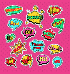 Comic speech bubbles set for badges and patches vector