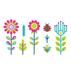 Creative spring or summer flowers blooming bud set vector