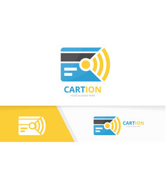 Credit card and wifi logo combination gift vector