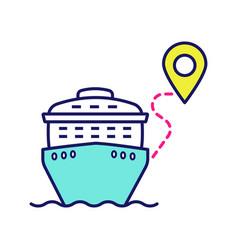 Cruise route color icon vector