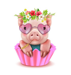 Cute pig realistic portrait vector