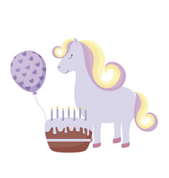 Cute unicorn with cake birthday and balloon helium vector
