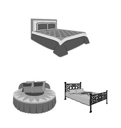 Different beds monochrome icons in set collection vector