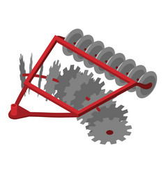 Disc tractor plow icon isometric style vector