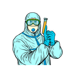 Doctor man in protective suit with a test tube a vector