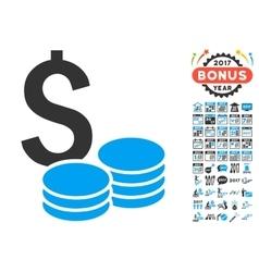 Dollar Cash Icon With 2017 Year Bonus Symbols vector