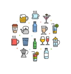 Drink Round Design Template Thin Line Icon vector image