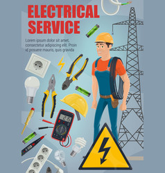electrician with tools equipment and service vector image