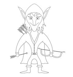 Elf archer contour vector image vector image