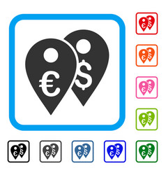 euro and dollar map markers framed icon vector image