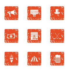 European monetary bank icons set grunge style vector