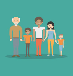 family parents boys and grandpa bonding vector image
