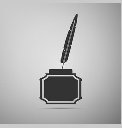 feather and inkwell flat icon on grey background vector image