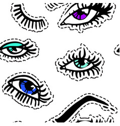 female eyes eyelashes and brows seamless pattern vector image