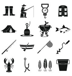 Fishing tools icons set simple style vector image