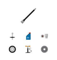 flat auto set of brake disk tire wheel pump and vector image