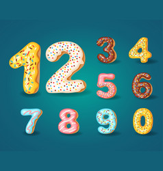 font of donuts bakery sweet alphabet alphabet vector image
