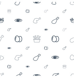 fried icons pattern seamless white background vector image