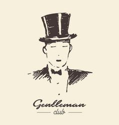 Gentleman club drawn label sketch vector