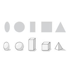Geometrical figures flat and volumetric vector