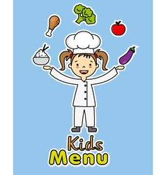 Girl chef with healthy food vector