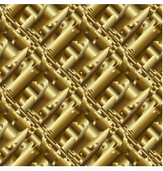 gold psychedelic 3d seamless pattern vector image