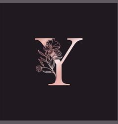Gold rose flower letter y luxury logo elegant vector