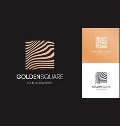golden linear logo square shape vector image
