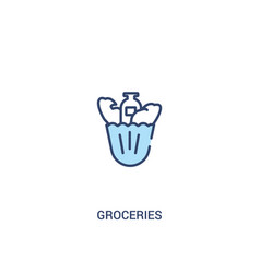 Groceries concept 2 colored icon simple line vector