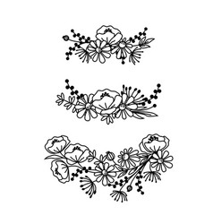 hand drawn wildflowers wreaths black and white vector image