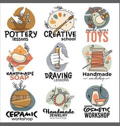 Handmade workshops ceramic and cosmetics label vector