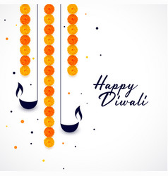 happy diwali diya and flower decoration background vector image