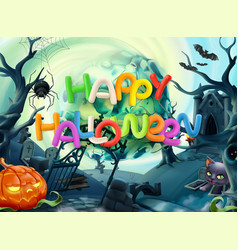 Happy halloween 3d background vector