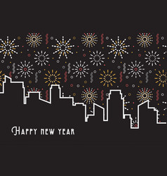 happy new year- 2021 fireworks over a city vector image
