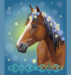 Horse portrait with flowers19 vector