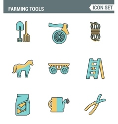Icons line set premium quality of farming tools vector