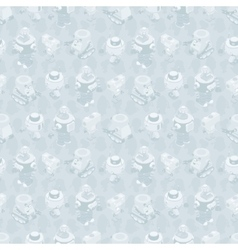 Isometric robots seamless pattern vector image