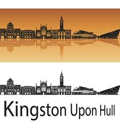 Kingston Upon Hull skyline in orange background vector