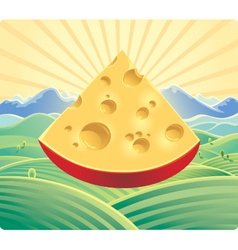 landscape with cheese vector image