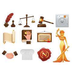 Law justice and order realistic icons set vector