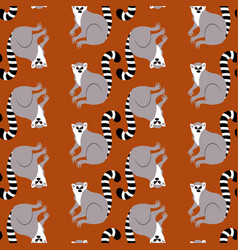 Lemur an animal flat style seamless pattern vector