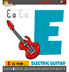 Letter e from alphabet with cartoon electric vector
